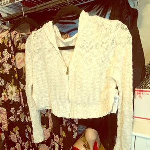Roxy white knitted crop top hoodie